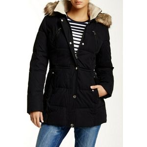 Nautica Faux Fur Hood Quilted Black Jacket